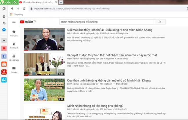 Minh Nhãn Khang có tốt không? Thông tin tra cứu trên Youtube
